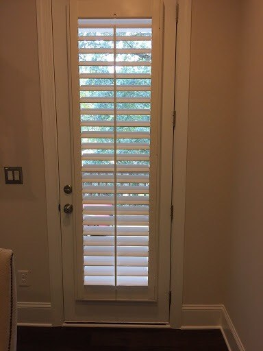 plantation shutters on a door